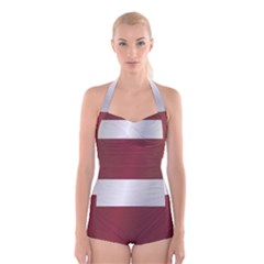 Flag Of Latvia Boyleg Halter Swimsuit