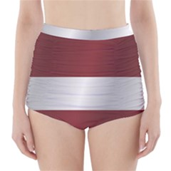 Flag Of Latvia High-Waisted Bikini Bottoms