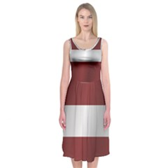 Flag Of Latvia Midi Sleeveless Dress