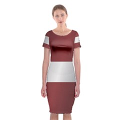Flag Of Latvia Classic Short Sleeve Midi Dress