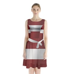 Flag Of Latvia Sleeveless Waist Tie Dress