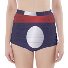 Flag Of Laos High-Waisted Bikini Bottoms