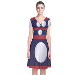 Flag Of Laos Short Sleeve Front Wrap Dress