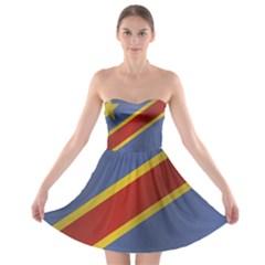Flag Of Democratic Republic Of The Congo Strapless Dresses