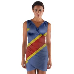 Flag Of Democratic Republic Of The Congo Wrap Front Bodycon Dress