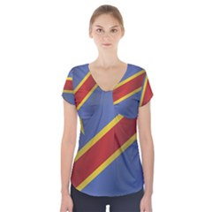Flag Of Democratic Republic Of The Congo Short Sleeve Front Detail Top