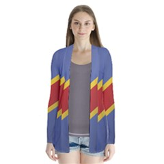 Flag Of Democratic Republic Of The Congo Drape Collar Cardigan