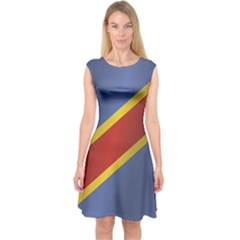 Flag Of Democratic Republic Of The Congo Capsleeve Midi Dress