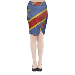Flag Of Democratic Republic Of The Congo Midi Wrap Pencil Skirt