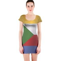 Flag Of Comoros Short Sleeve Bodycon Dress