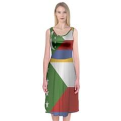Flag Of Comoros Midi Sleeveless Dress
