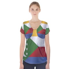 Flag Of Comoros Short Sleeve Front Detail Top