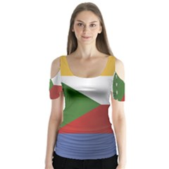 Flag Of Comoros Butterfly Sleeve Cutout Tee