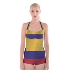 Flag Of Colombia Boyleg Halter Swimsuit
