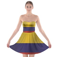 Flag Of Colombia Strapless Dresses