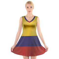 Flag Of Colombia V-Neck Sleeveless Skater Dress