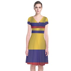 Flag Of Colombia Short Sleeve Front Wrap Dress