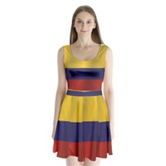 Flag Of Colombia Split Back Mini Dress