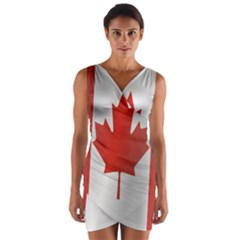 Flag Of Canada Wrap Front Bodycon Dress