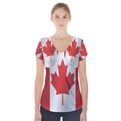Flag Of Canada Short Sleeve Front Detail Top