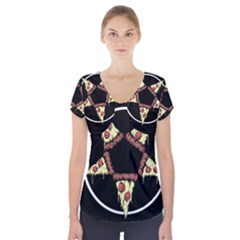 Pizzagram Short Sleeve Front Detail Top