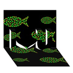 Green fishes pattern I Love You 3D Greeting Card (7x5)