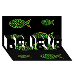 Green fishes pattern BELIEVE 3D Greeting Card (8x4)