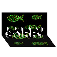 Green fishes pattern SORRY 3D Greeting Card (8x4)