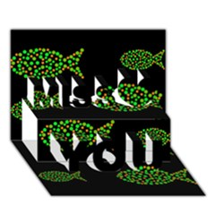 Green Fishes Pattern Miss You 3d Greeting Card (7x5)