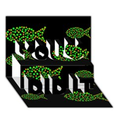 Green Fishes Pattern You Did It 3d Greeting Card (7x5)