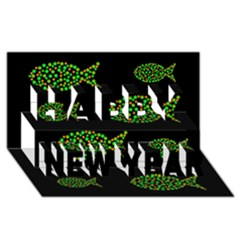 Green fishes pattern Happy New Year 3D Greeting Card (8x4)
