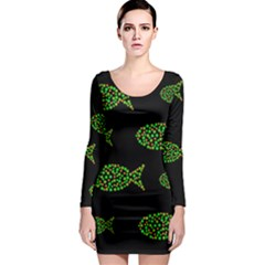 Green Fishes Pattern Long Sleeve Bodycon Dress
