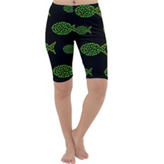Green fishes pattern Cropped Leggings