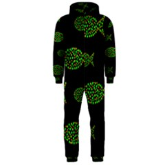 Green fishes pattern Hooded Jumpsuit (Men)