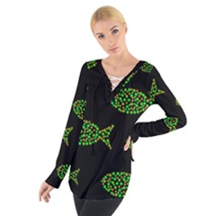 Green fishes pattern Women s Tie Up Tee