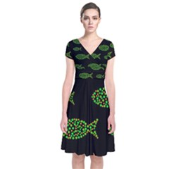 Green Fishes Pattern Short Sleeve Front Wrap Dress
