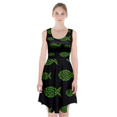 Green fishes pattern Racerback Midi Dress