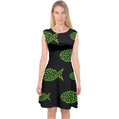 Green fishes pattern Capsleeve Midi Dress