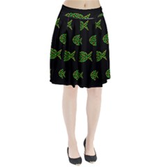 Green Fishes Pattern Pleated Skirt