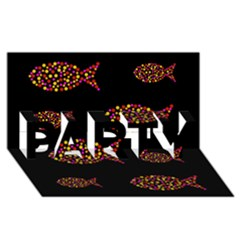Orange Fishes Pattern Party 3d Greeting Card (8x4)