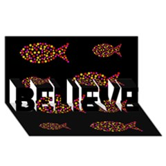 Orange fishes pattern BELIEVE 3D Greeting Card (8x4)