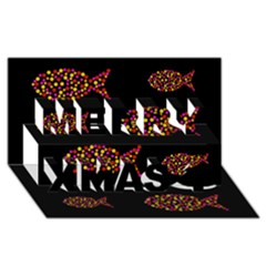 Orange fishes pattern Merry Xmas 3D Greeting Card (8x4)