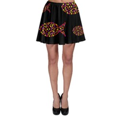 Orange fishes pattern Skater Skirt