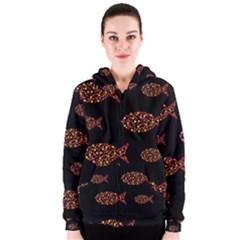 Orange fishes pattern Women s Zipper Hoodie