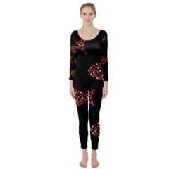 Orange fishes pattern Long Sleeve Catsuit