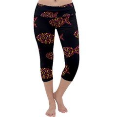 Orange fishes pattern Capri Yoga Leggings