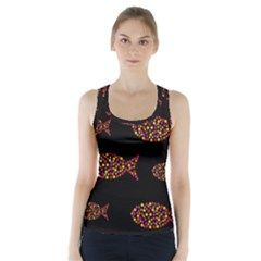 Orange fishes pattern Racer Back Sports Top