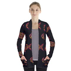 Orange fishes pattern Women s Open Front Pockets Cardigan(P194)