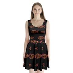 Orange fishes pattern Split Back Mini Dress