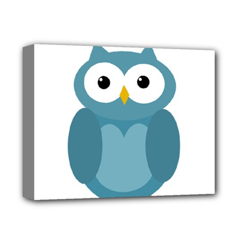 Cute blue owl Deluxe Canvas 14  x 11